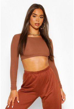 Chocolate Long sleeve crew neck crop top