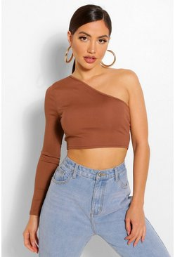 One shoulder crop top, Chocolate