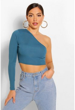 One shoulder crop top, Teal