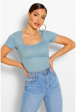 Blue Rib square neck cap sleeve bodysuit