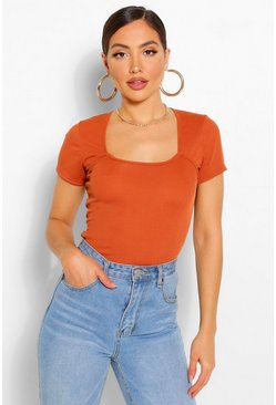 Terracotta Rib square neck cap sleeve bodysuit