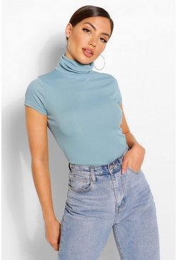 Blue Rib turtleneck cap sleeve top