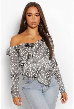 Black Woven printed ruffle off the shoulder top