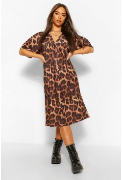 Brown Leopard Print Gathered V Neck Midi Dress