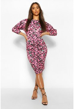 Pink Floral Ruched Midi Dress