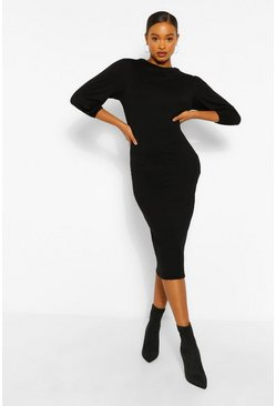 Black Cowl Neck Side Split Midi Dress