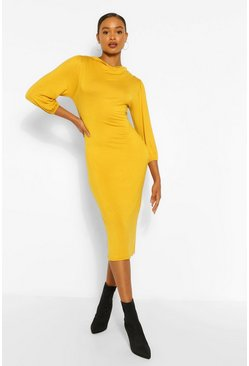 Mustard yellow Cowl Neck Side Split Midi Dress