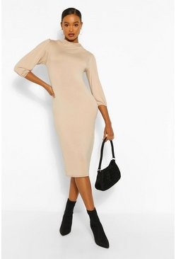 Stone beige Cowl Neck Side Split Midi Dress