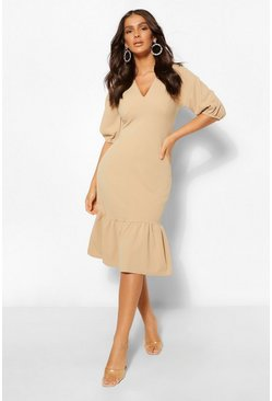 Stone beige Puff Sleeve Plunge Midi Dress