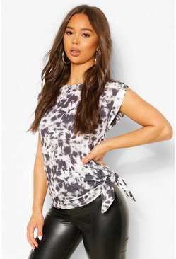 Black Tie Dye Rib Knot Side Top
