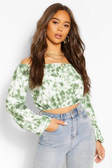 Green Tie Dye Rib Bardot Top