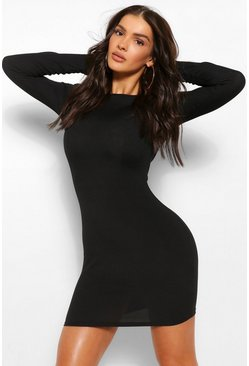Black Rib Mini Dress With Shoulder Pads