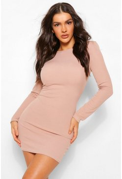 Stone beige Rib Mini Dress With Shoulder Pads