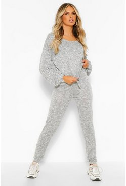 Grey Knitted Top & Legging Lounge Set