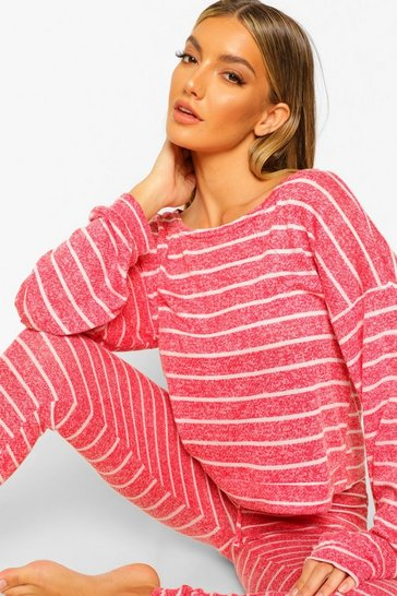 Red Striped Knitted Top & Legging Lounge Set