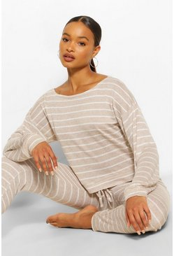 Stone beige Striped Knitted Top & Legging Lounge Set