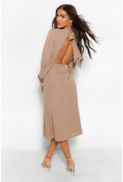 Camel beige Cut Out Back Midaxi Dress