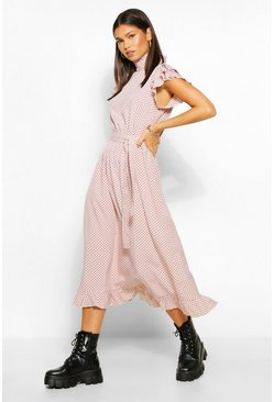 Blush pink Polka Dot High Neck Midi Skater Dress