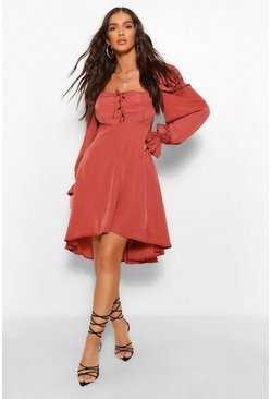 Berry red Square Neck Lace Up Skater Dress