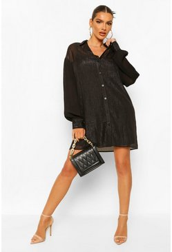 Black Lined Sheer Shirt Dress