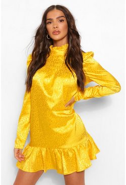 Robe babydoll en satin à manches bouffantes imprimé animal assorti, Moutarde jaune