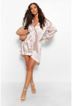 Champagne beige Tonal Stripe Satin Oversized Shirt Dress