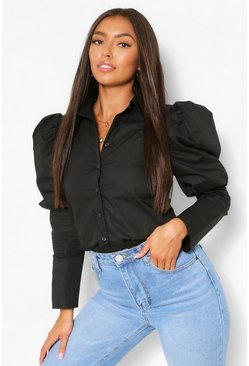 Puff Shoulder Detail Shirt, Black schwarz