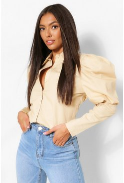 Puff Shoulder Detail Shirt, Stone beige