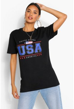 Black AMERICA USA SLOGAN TSHIRT