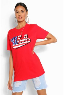 Red AMERICA USA FLAG SLOGAN TSHIRT