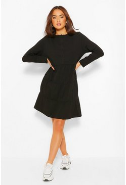 Black Button Detail Long Sleeve Tiered Smock Dress