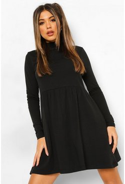 Black Roll Neck Long Sleeve Skater Dress