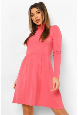 Dusty rose pink Roll Neck Long Sleeve Skater Dress