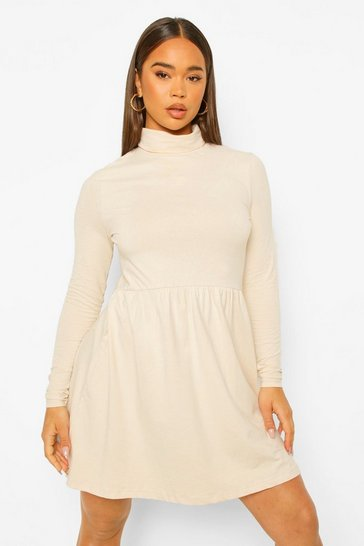 Stone beige Roll Neck Long Sleeve Skater Dress
