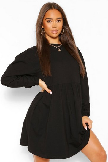 Black Batwing Puff Sleeve Smock Dress