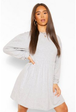Grey marl grey Batwing Puff Sleeve Smock Dress