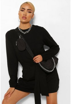 Black Long Sleeve Tie Waist Shift Dress