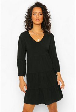 Black Wrap Tiered Smock Dress