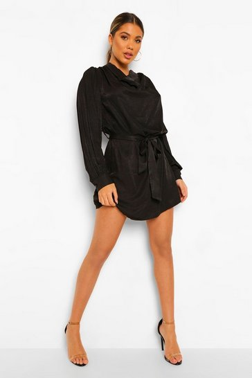 Black Draped Neck Belted Shift Dress