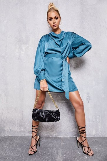 Teal green Draped Neck Belted Shift Dress