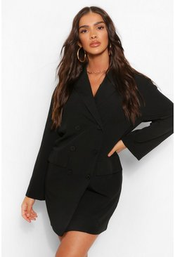 Black Oversized Drop Shoulder Blazer Dress