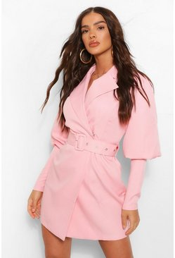 Baby pink pink Woven Puff Sleeve Blazer Dress
