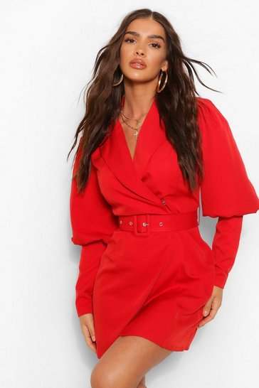 Berry red Woven Puff Sleeve Blazer Dress