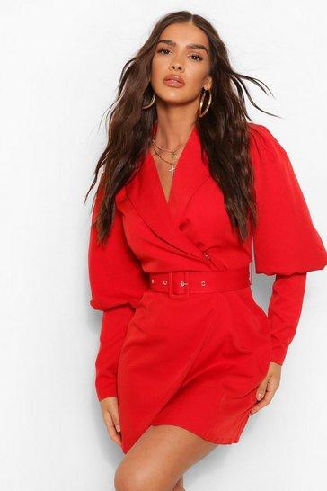 Berry red Woven Puff Sleeve Blazer Dress