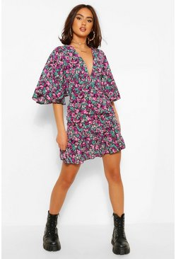Purple Floral Print V Neck Angel Sleeve Mini Dress