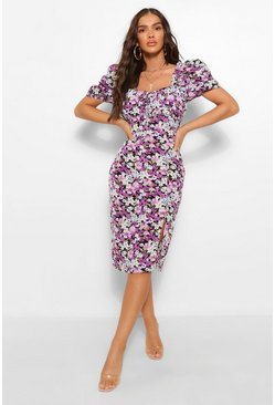 Purple Floral Rouched Bust Puff Sleeve Midi Dress