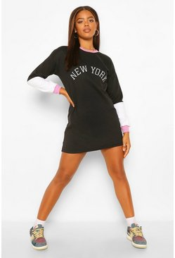 Black New York Embroided Colour Block Sweat Dress