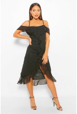 Black Dobby Cold Shoulder Ruffle Midi Tea Dress