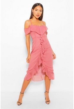 Rose pink Dobby Cold Shoulder Ruffle Midi Tea Dress