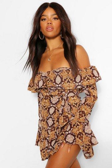 Brown Snake Print Bardot Belted Tea Dress